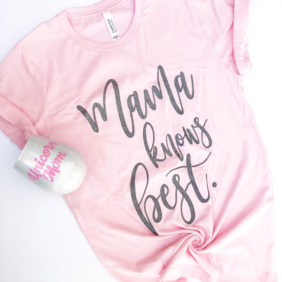 Mama Knows Best Tee - Pink with Gunmetal Glitter Print