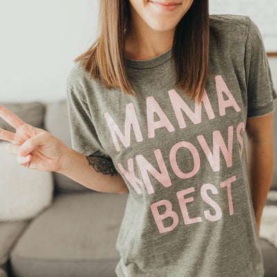 MAMA KNOWS BEST Acid Wash Tee - Olive w/ Blush Glitter Print