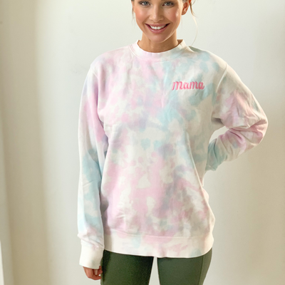 Mama Embroidered Midweight Tie Dye Sweatshirt