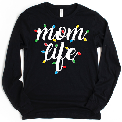 Momlife Christmas Lights Pullover Tee - Black