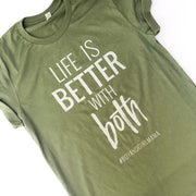 Life Is Better With BOTH Tee - Olive w/ Silver Sparkle Print (PREORDER)