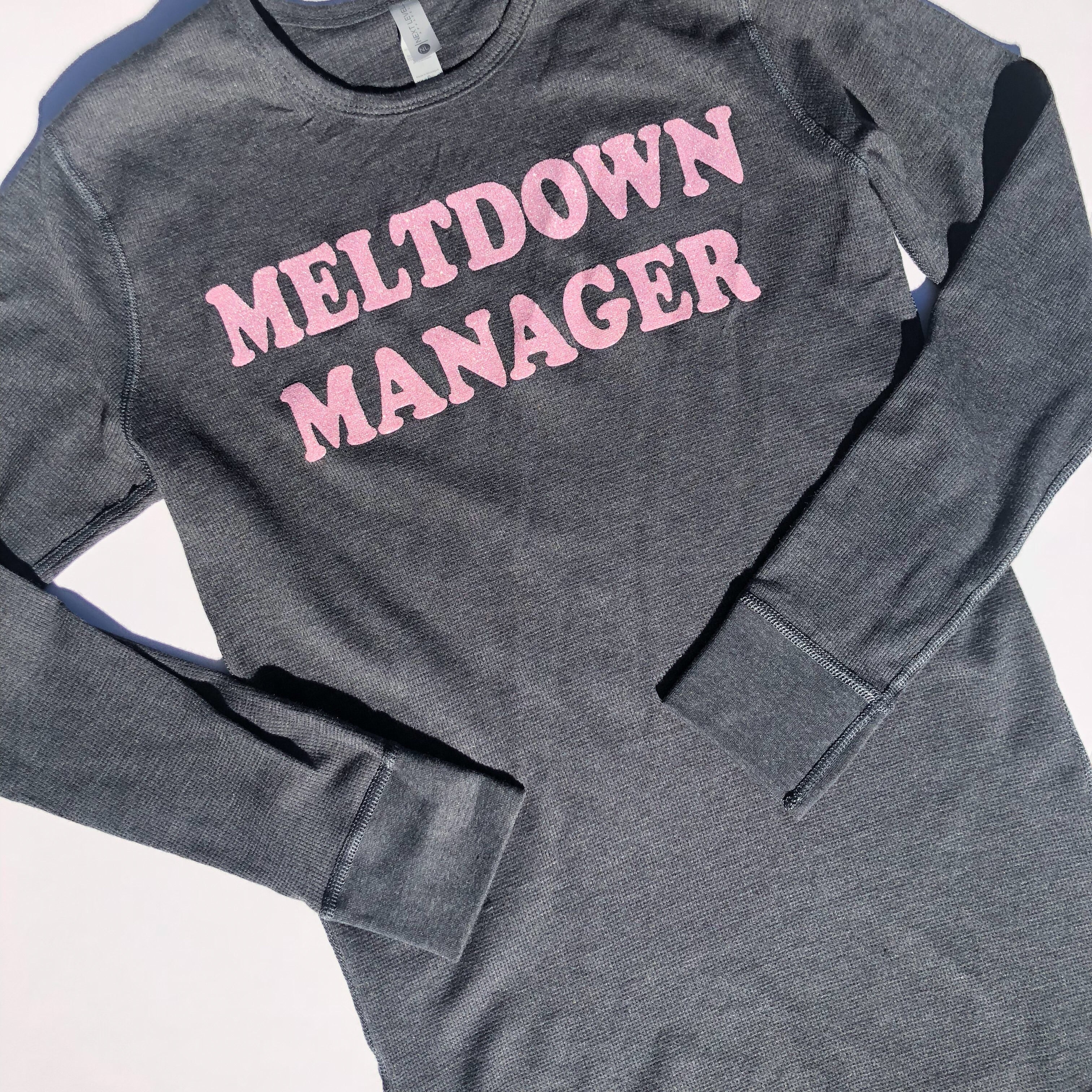 Meltdown Manager Thermal Pullover - Charcoal w/ Blush Glitter