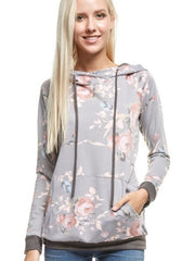 Payton Floral Hoodie- Heather Gray