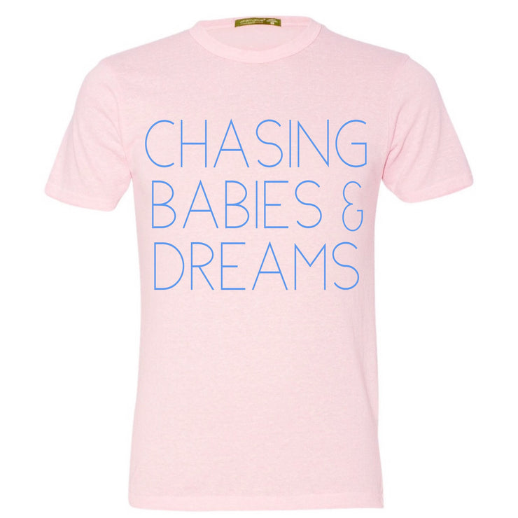 Babies & Dreams Eco Pink Tee with Sky Blue Print
