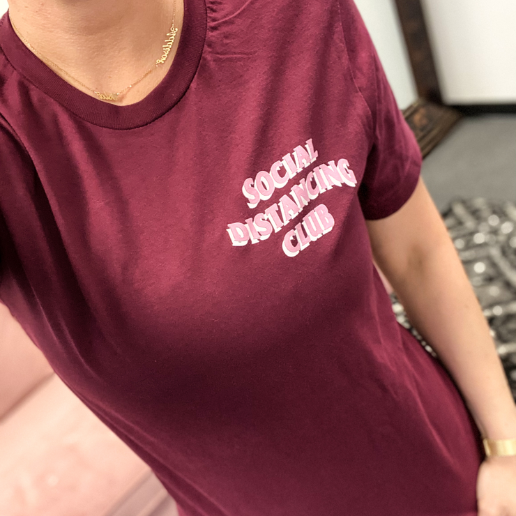 Social Distancing Club Tee - Burgundy