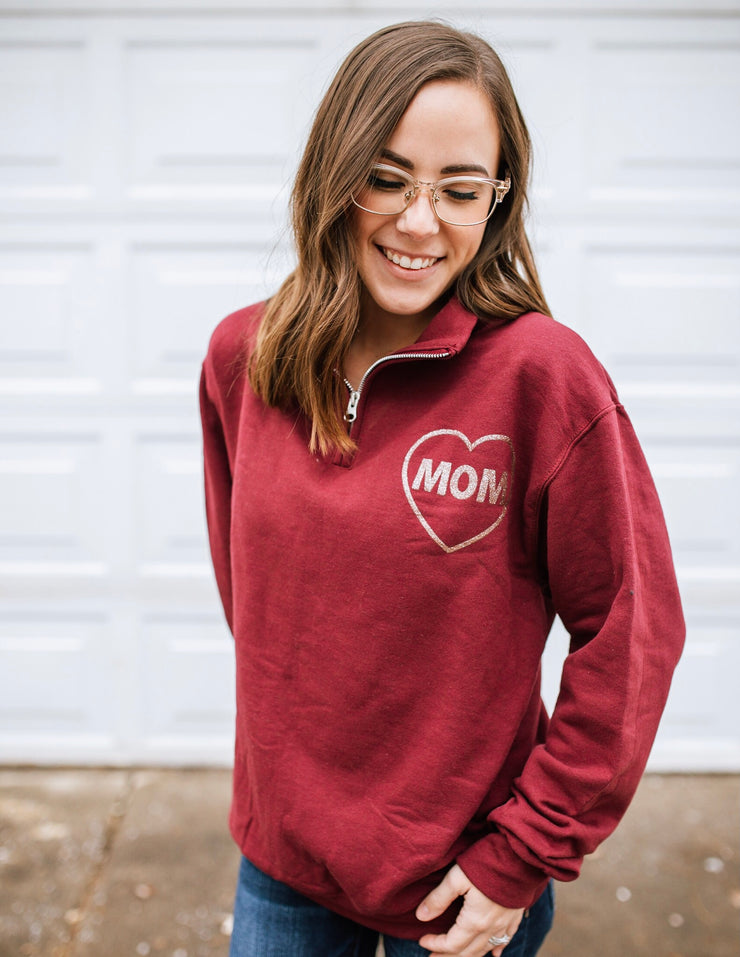 MOM Icon Quarter Zip Sweatshirt - Maroon w/ Rose Gold Glitter Print