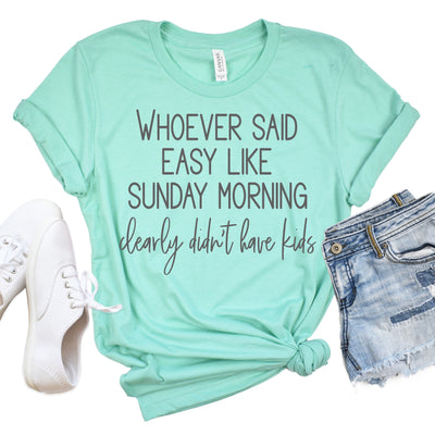 Sunday Morning Tee - Heathered Mint w/ Charcoal Print