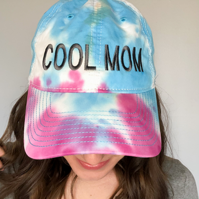 Cool Mom Tie Dye Embroidered Baseball Cap - Pastel