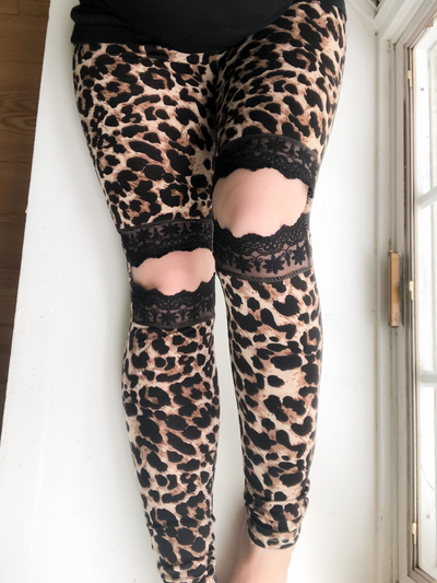 Leopard Print Lace Cut Out Brushed Leggings