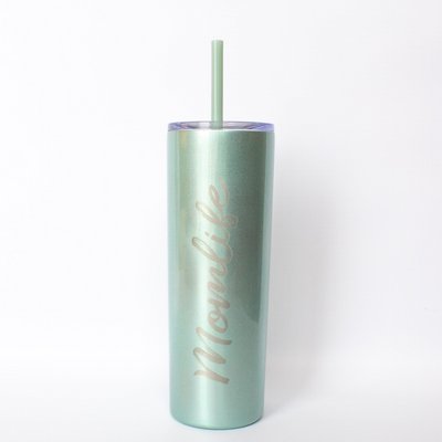 Momlife Engraved Skinny Steel Tumbler - Seascape