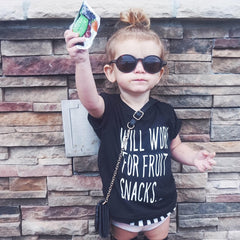 Will Work For Fruit Snacks Kids Tee