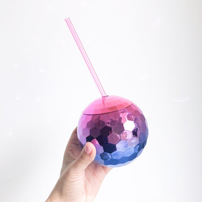 Ombre Disco Ball Drink Tumbler - Royal Blue + Pink