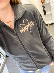 Mama Heart Embroidered Microfleece Full Zip Jacket