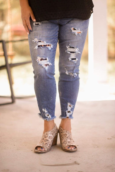 Leopard High Rise Distressed Skinny - CURVY