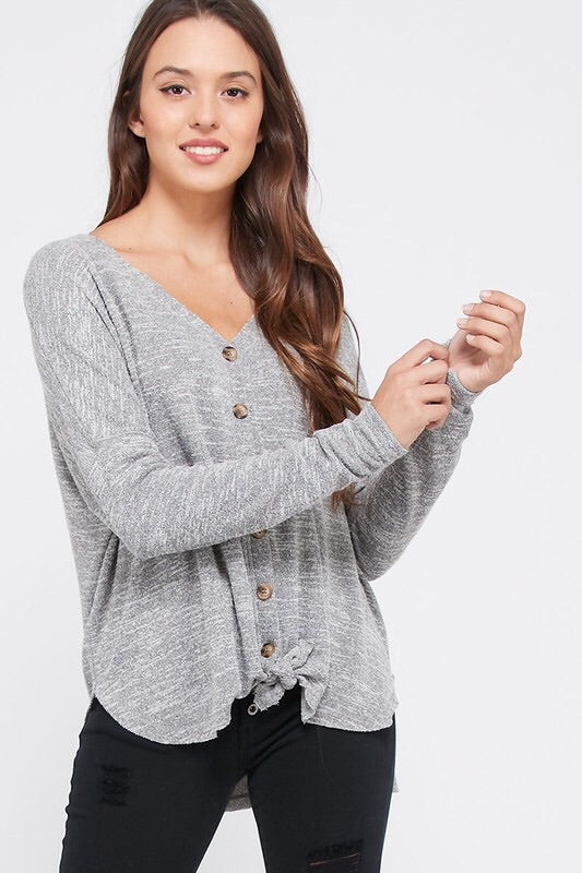 Mallory Button Up Top - Gray