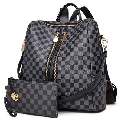 Olivia Convertible Backpack - Black Plaid