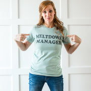 MELTDOWN MANAGER Tee - Dusty Blue w/ Glitter Ocean Print