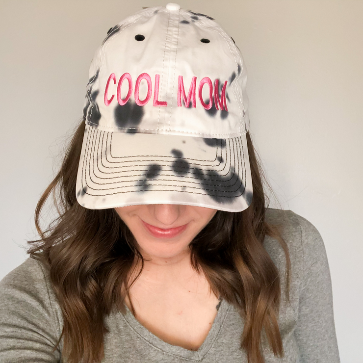 Cool Mom Tie Dye Embroidered Baseball Cap - Monochrome