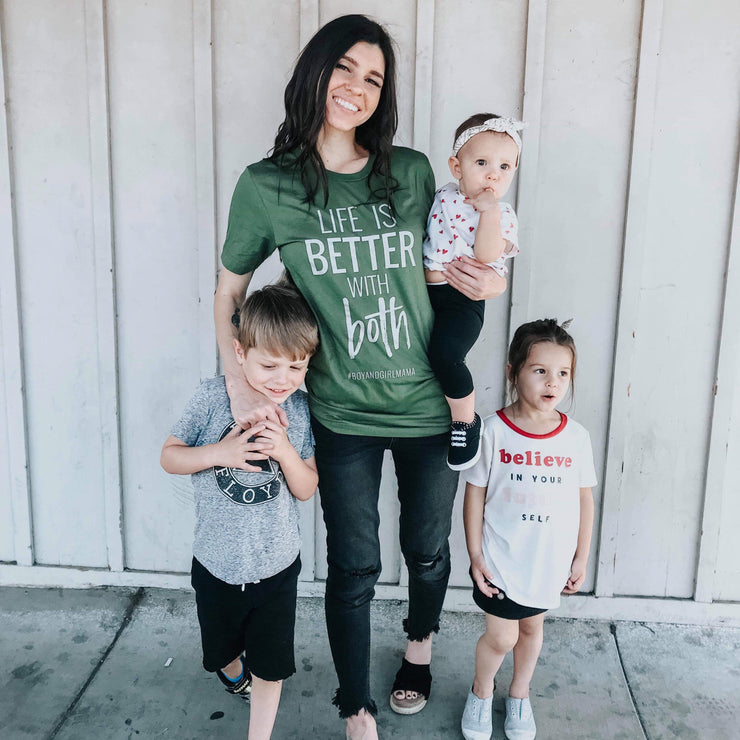 Life Is Better With BOTH Tee - Olive w/ Silver Sparkle Print