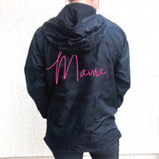 Mama Black Camo Windbreaker w/ Neon Pink Jewel Print