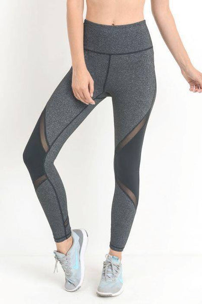High Waist Color Block Mesh Leggings