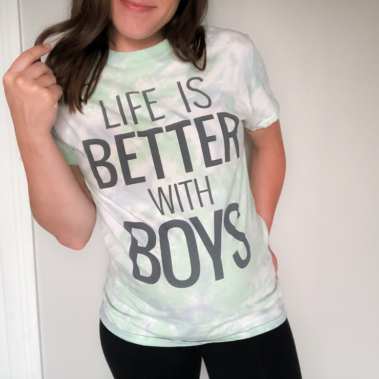 Life Is Better With Boys Tie Dye Tee w/ Charcoal Print