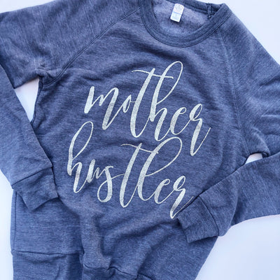 Mother Hustler Sweatshirt - Navy w/ Silver Glitter