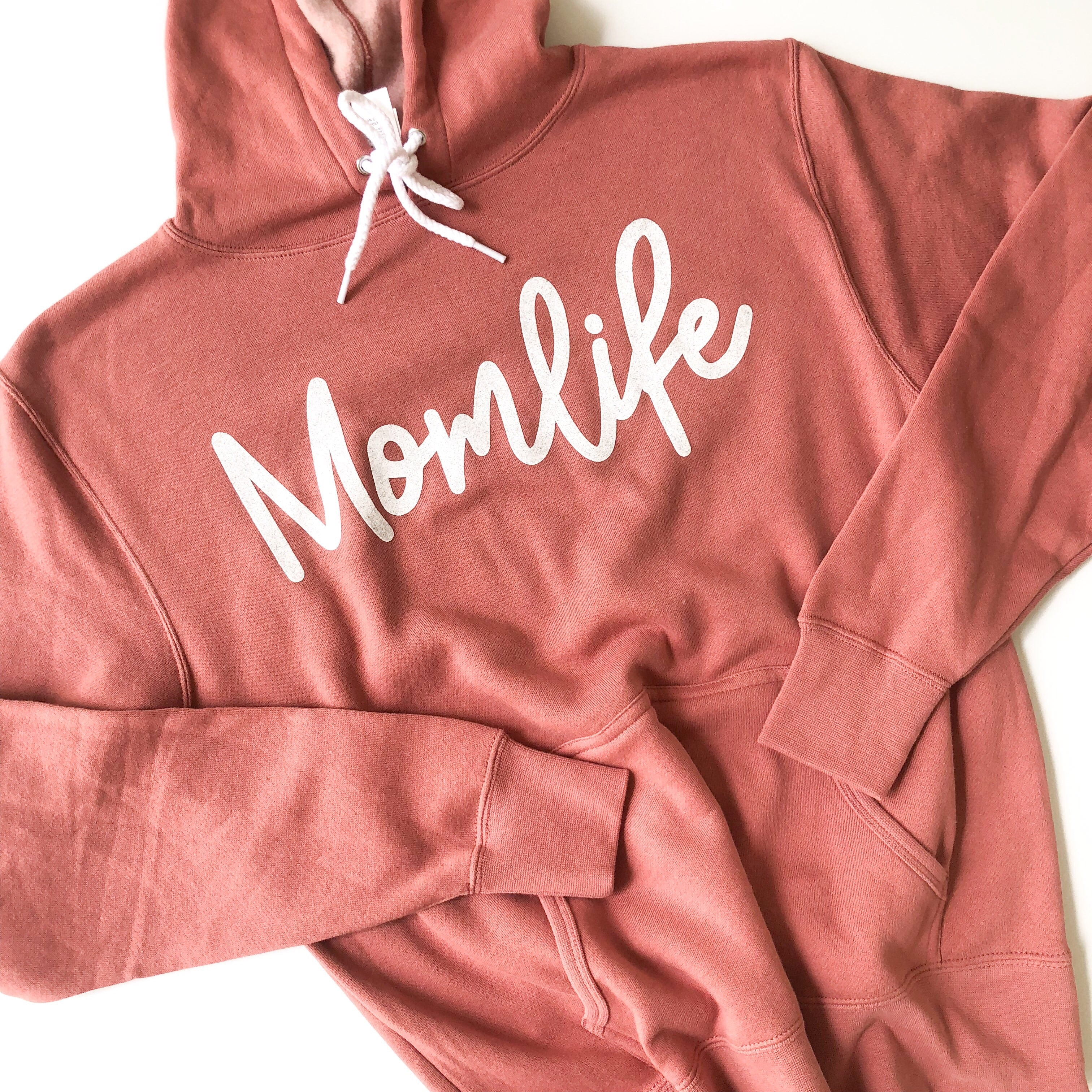 Momlife Pullover Hoodie - Dusty Rose w/ White Jewel Glitter Print