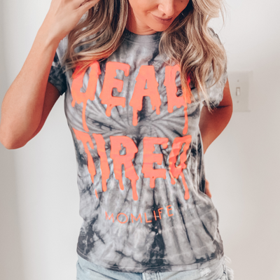 Dead Tired Slime Tie Dye Tee w/ Neon Orange Print