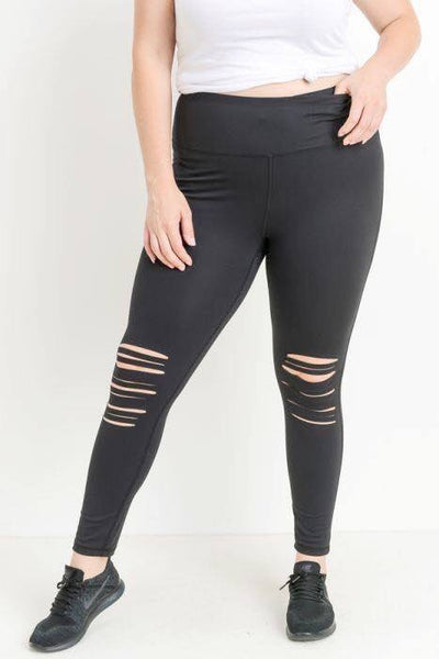 PLUS Highwaist Shredded Knee Laser-Cut Leggings (PREORDER)