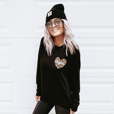 Mom Leopard Heart Sweatshirt
