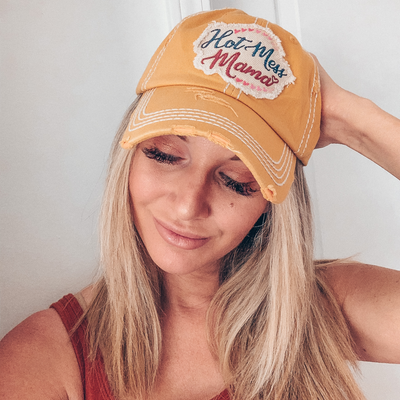 Hot Mess Mama Distressed Baseball Cap