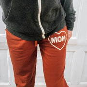 MOM Heart Joggers - Terracotta w/ Cream Jewel Print