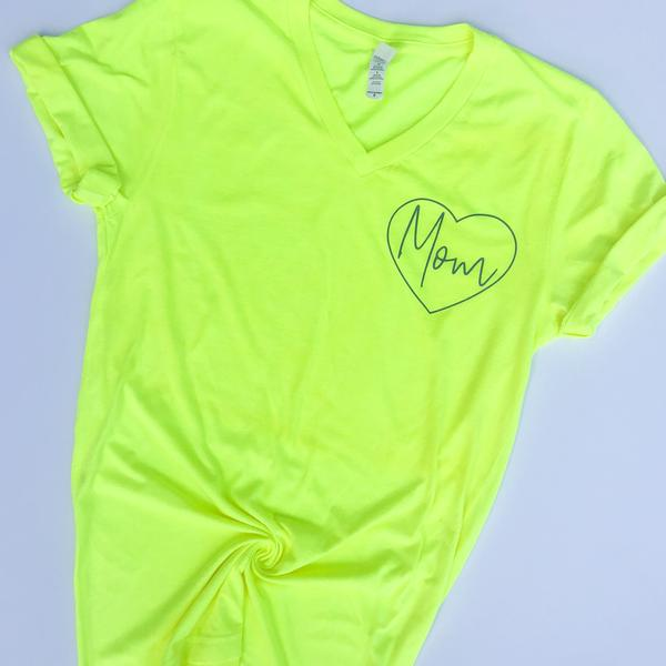 MOM Neon Yellow V-Neck Tee w/ Gray Print