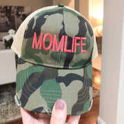 MOMLIFE Distressed Camo Baseball Cap with Hot Pink Embroidery