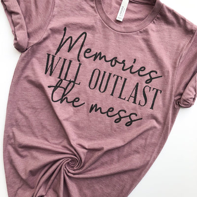Memories Will Outlast The Mess Tee - Heather Orchid w/ Black Glitter Print