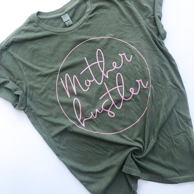 Mother Hustler Icon Tee - Pine w/ Blush Print