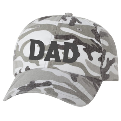 DAD Gray Camo Embroidered Baseball Cap