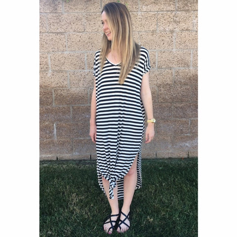 Black Striped Sleeve Dress