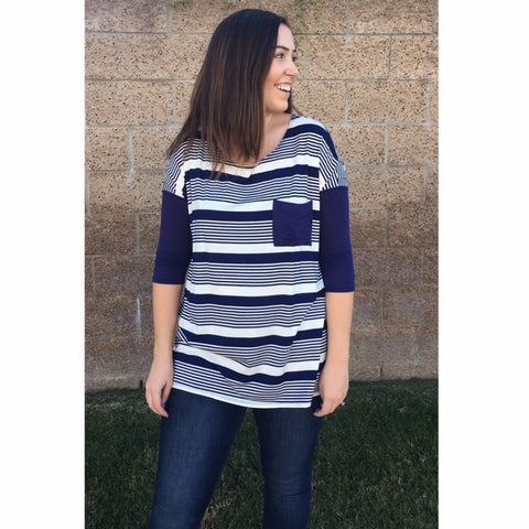 Navy Striped Casual