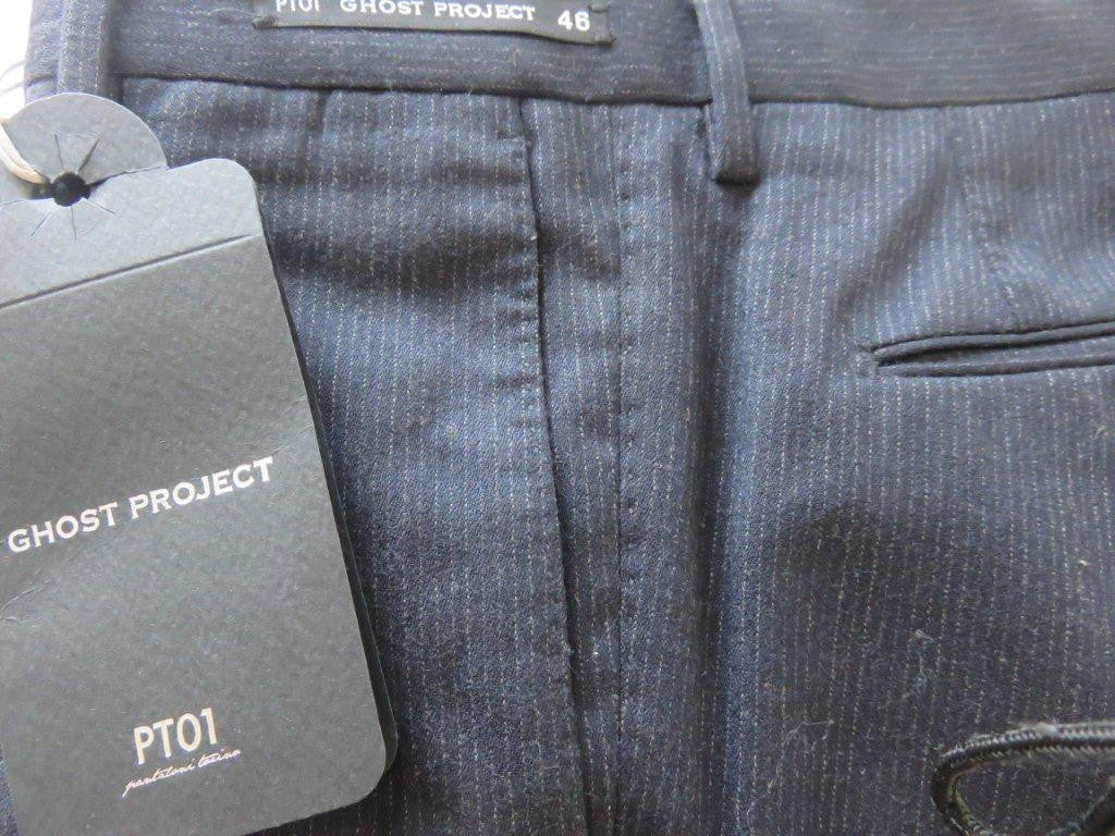 PT01 Pantaloni Torino - Model Ghost - luxury wool pinstripe (in blue and grey)
