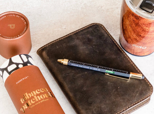 Journal, travel mug, pen