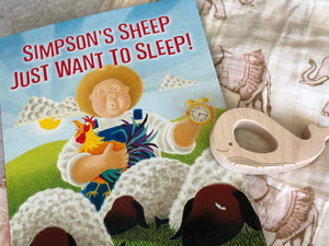 Simpson's Sheep Just Want to Sleep Children's Book, Elephant Swaddle, wood teether
