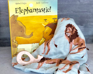 Baby gift - book, blanket, teether