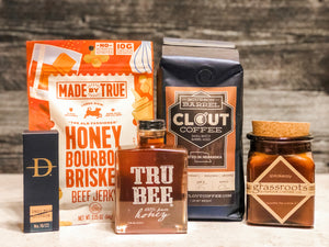 Bourbon gift with clout coffee, jerky, trubee honey, speakeasy candle, bourbon toothpicks