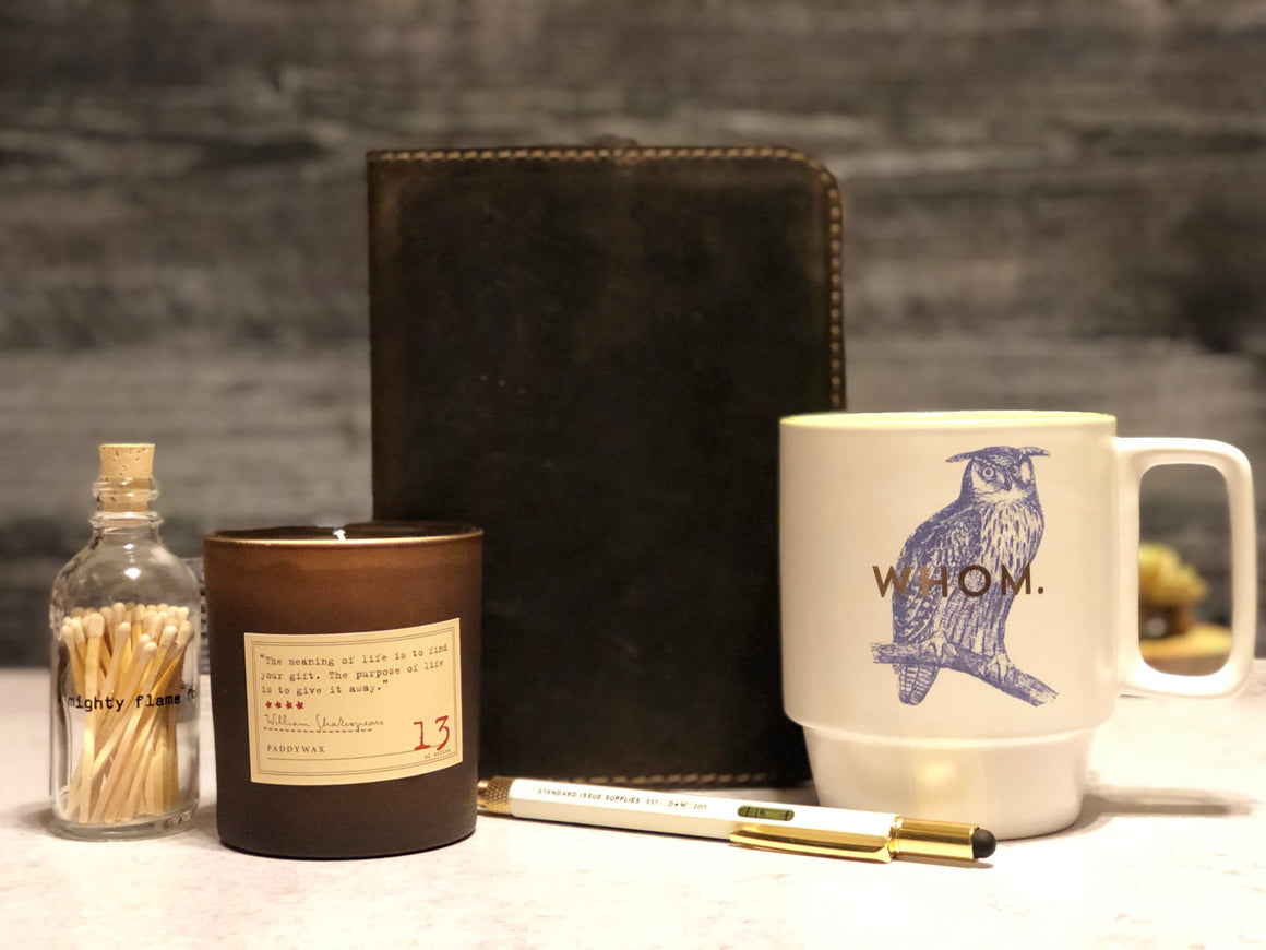Beautiful gift with journal, candle, mug, pen and matches
