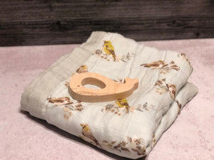 Baby Lovey Blanket - yellow birds, soft, wood teether