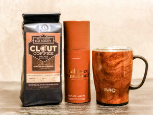 Clout coffee, travel mug, essential oil diffuser