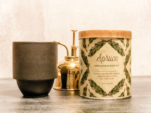 spruce planter, plan mister, candle