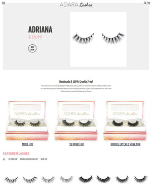 Adara Lashes - Photography and Web Design - Los Angeles, US based Shopify Experts Revo Designs